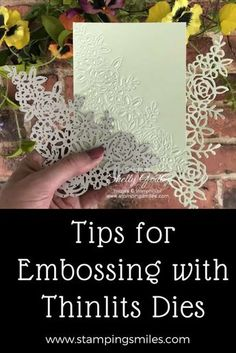 Tips for embossing with Thinlits dies demonstrated by Shelly Godby of www. - Tips for embossing with Thinlits dies demonstrated by Shelly Godby of www. Card Making Tips, Card Making Tutorials, Card Making Techniques, Making Ideas, Card Making Templates, Scrapbooking Machine, Embossing Techniques, Rubber Stamping Techniques, Embossed Cards