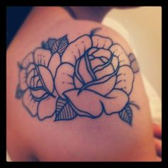 fuckyeahtattoos:    These outlined roses were done by Steve Sims @ Top Notch Tattoos in Elgin, IL  http://prettikittimeow.tumblr.com/    Mari's tattoo, I love it.