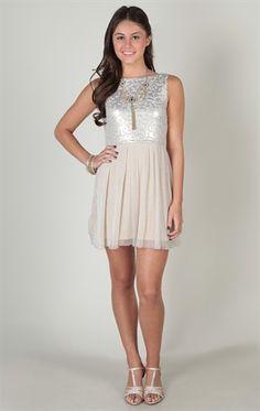 Deb Shops homecoming dress with metallic bodice and ballerina skirt  $42.90