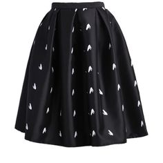 SheIn(sheinside) Black Frog Print Flare Skirt ($19) ❤ liked on Polyvore featuring skirts, bottoms, spódnice, black, black flared skirt, black knee length skirt, print skirt, black skirt and skater skirt