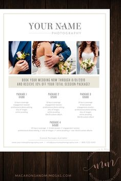 Chic premade Photography price sheet guide Templates, PSD files to customize with photographer photos. Perfect for your branding, marketing, pacakges materials. Wedding photography