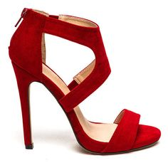 X Marks The Strappy Stiletto Heels RED (96 AED) ❤ liked on Polyvore featuring red, high heels stilettos, red stilettos shoes, red strap pumps, strappy stilettos ve red stiletto pumps