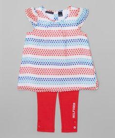 Red & Blue Angel-Sleeve Tunic & Leggings - Infant