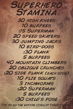 Need to fight some crime this weekend? Expecting to be hauling tail after some villains? Youll need strong muscles and a lot of stamina to keep up with them! Prepare yourself with this intense stamina-building workout.