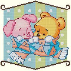 Baby Winnie the Pooh and Piglet Winter Friends Cross Stitch Pattern-Disney, Winnie the Pooh, Piglet