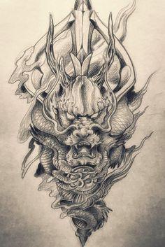 Dragon Tattoo Drawing, Dragon Head Tattoo, Demon Tattoo, Dragon Tattoo Designs, Head Tattoos, Body Art Tattoos, Sleeve Tattoos, Japanese Dragon Tattoos, Japanese Tattoo Art