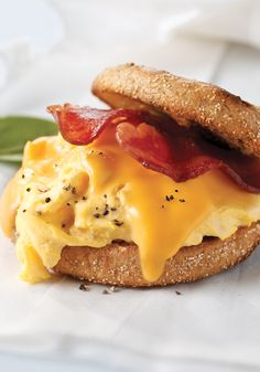 Grab and go breakfast sandwich- Start your day with this bacon, egg and cheese breakfast sandwich.