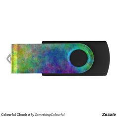 Colourful Clouds 2 Flash Drive Usb Drive, Usb Flash Drive, Dog Design, Custom Design, Colorful Clouds, Funky Design, Personalized Note Cards, Colours, Products