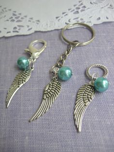 Angel wing purse charm keychain glass pearl Choose by buysomelove, $5.00