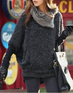 *Fashionable Turtle Neck With Fur Loose-Fitting