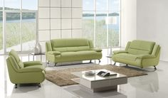 Green Leather Sofa Couch Loveseat Chair Tufted Modern Living Room Set
