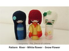 Pattern mini  kokeshi dolls   3 kokeshi doll por cottonflake