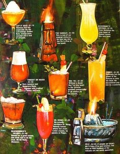 Tiki bar cocktail menu. One of each please bartend