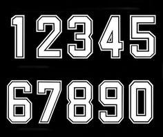GBP - Bold Font Iron-On Vinyl Transfer White Numbers Football Baseball Sports T-Shirt & Garden Number Tattoo Fonts, Number Tattoos, Monogram Initials, Monogram Letters, Football Fonts, Letter Planter, Baseball Numbers, Baseball First Birthday, Cool Lettering