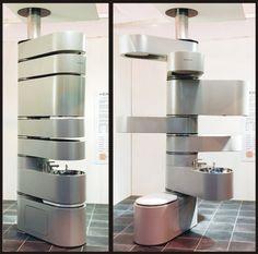 Vertebrae Puts Your Bathroom Fixtures In A Space-Saving Swiveling File