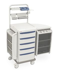 COMPLETELY ACCESSORIZED and ready to roll with everything you need, all in one place. The Starsys Anesthesia Cart is designed for maximum flexibility and performance. Constructed of advanced polymers, infused with Microban antimicrobial product protection, this cart is corrosion-proof and stain-resistant. Swing-out side storage pods provide additional work surface area when needed. Removable tote box drawers allow easy loading and unloading of supplies.