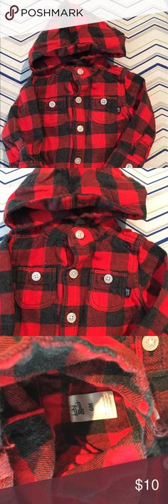 6M Buffalo plaid shirt, infants, red and black Baby B'Gosh red and black buffalo plaid hooded button up shirt baby b'gosh Shirts & Tops Button Down Shirts