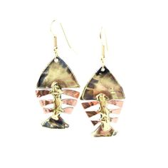 Fishbone earrings, for something a little different! Made by Fair Trade artisans in South Africa. Bronze and Copper, heat teated for this great shimmering effect. Available in Australia at Change Merchants