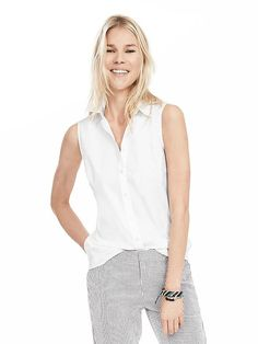 Riley-Fit White Sleeveless Shirt | Banana Republic