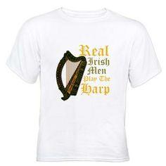 Real Irish Men Play The Harp - White T-Shirt #stPatrick'sday #saintPatrick'sday #Ireland #Irish #Harp