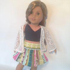 18 in Doll Clothes  3pc Spaghetti Strap Top Flair Skirt by sashali