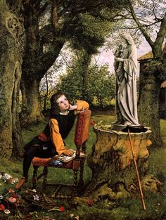 William Dyce Titian Preparing to Make his First Essay in Colouring (1857)  A young Titian sits on the edge of a chair, his hand clutching some flowers onto the pages of his sketchbook. Titian's flower-gathering was not merely to bring a bouquet to honor a statue of Mary; instead, he crushes the blossoms and uses them as tints for his palette.