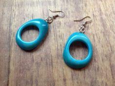 £7.00 Tagua (Vegetable Ivory) earrings, Blue Hoops. Fair Trade | eBay