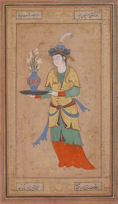 Woman with Vase of Lilies Date: second half 16th century Geography: Iran Medium: Opaque watercolor and gold on paper Dimensions: H. 12 7/8 in. (32.7 cm) W. 8 5/8 in. (21.9 cm) Metropolitan Museum of Art 55.121.20
