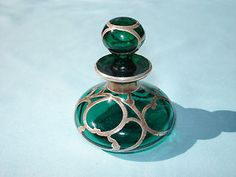 ART NOUVEAU Antique Emerald Green Glass perfume Bottle Sterling Silver Overlay