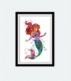 Ariel watercolor art print The Little mermaid por ColorfulPrint