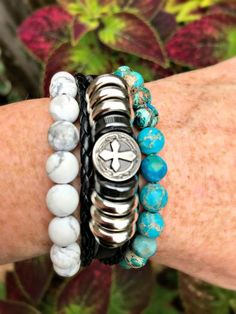 Leather Silver Cross and Jasper Gemstone Stack Stretch Bracelets, Beaded Bracelets, Jasper Gemstone, Turquoise Bracelet, Gemstones, Metal, Silver, Leather, Handmade