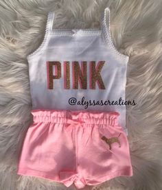 Your place to buy and sell all things handmade Love PINK inspired baby girl clothes outfit Newborn Girl Outfits, Cute Baby Girl Outfits, Kids Outfits Girls, Toddler Girl Outfits, Teenager Outfits, Toddler Girls, Cute Lazy Outfits, Cute Swag Outfits, Pink Outfits
