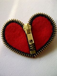 Red Zip Heart Brooch by BySamMercer on Etsy