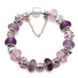 (7.8inch/20cm) Christmas Gifts European Hot Fashion Style Purple Murano Glass Beads Charm Beaded Complete Silver Plated Bracelets for Women ...
