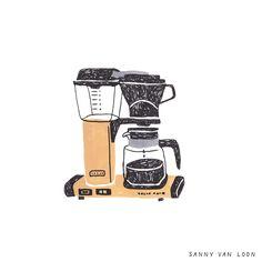 Technivorm Moccamaster by Sanny van Loon | Illustration | Coffee | www.sannyvanloon.com