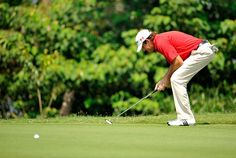 American #jasonKnutzon reacts to a shot during the final round on Monday.  #YTPC #Golf