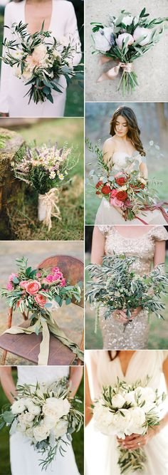 gorgeous olive leave bridal bouquets for 2017 weddings.