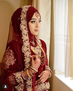 Bridal Hijab Styles, Asian Bridal Dresses, Muslim Wedding Dresses, Muslim Brides, Wedding Dresses For Girls, Bridal Outfits, Muslim Couples, Dress Wedding, Wedding Bride