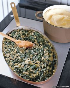 Creamed Swiss Chard - More hearty than traditional creamed spinach, this satisfying side dish is wonderful with steak. For faster preparation, you can cook the Swiss chard-and-onion mixture in advance and warm it in the microwave just before adding to the cream sauce.