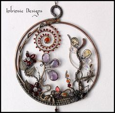 Wire Wrapped Multi Gemstone and Swarovski Crystal Suncatcher by CathyHeery from Intrinsic Designs $170.00