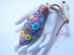 Colorful Millefiori Floral Polymer Clay Christmas Ornament. $20.00, via Etsy.
