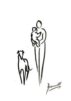 ORIGINAL GREYHOUND LURCHER WHIPPET 4154 DOG PAINTING DIANNE HEAP PAINTING ART