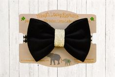 Fabric Bow Headband, Fabric Bow Clip-on ||  Black Velvet Fabric Bow White Sparkle Center Wrap and Black White Elastic Band or Clip Mounted by mamasluckyelephant on Etsy