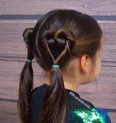 "521 Likes, 52 Comments - Mariya (@brianasbraids) on Instagram: ""Sweet little heart ponytails for school today. So glad it's Friday!💚 #braidsforlittlegirls…"""