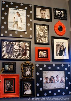 Gallery wall for basement stairway.  Use leopard and zebra print scrapbook paper for matting.  Add one accent color for a pop!