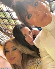 Glam gals: In one snap the ladies posed with RHOBH star Kyle Richards. Kris Jenner, Kardashian Jenner, Kyle Richards, Reality Tv Stars, Bikini Photos, Bikini Bodies, Daughter, Poses, Celebrities