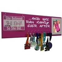 she ran happily ever after - race bibs and medals display rack - Use our running medal holder to display all your race medals. We offer a huge variety of medal hanger with running quotes for women and men. Our medal displays are the most acclaim on the web. Starting at$24.99 only.
