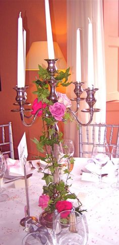 Just taken delivery of a beautiful set of tall silver candelabras. Stunning alone to dress your tables, or even with simple or more elaborat. Silver Candelabra, Princess Birthday, Candle Holders, Chandelier, Candles, Table Decorations, Simple, Ivy, Party