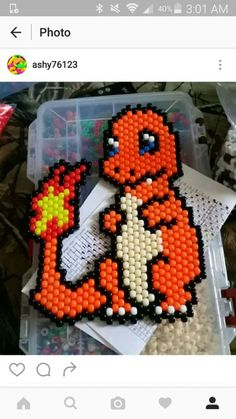 charmander peyote by Native Beading Patterns, Seed Bead Patterns, Pony Bead Projects, Beaded Banners, Anime Crafts, Peyote Stitch Patterns, Melting Beads, Beaded Animals, Pony Beads