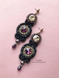 """Купить Серьги """"Венеция"""" - подарок, черный, аметист, handmade, авторские украшения, вечерние серьги"""